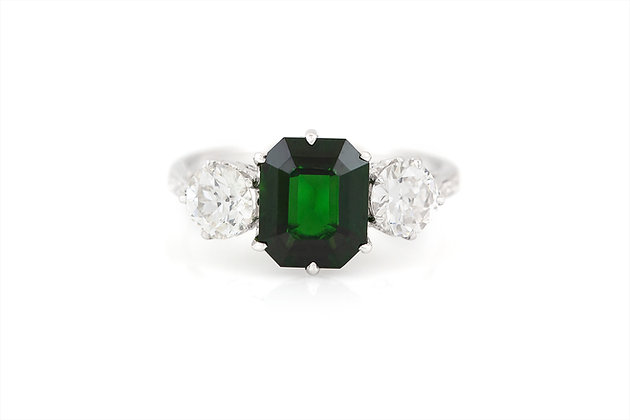 1.94 Carat Green Tourmaline and Diamond Engagement Ring top view
