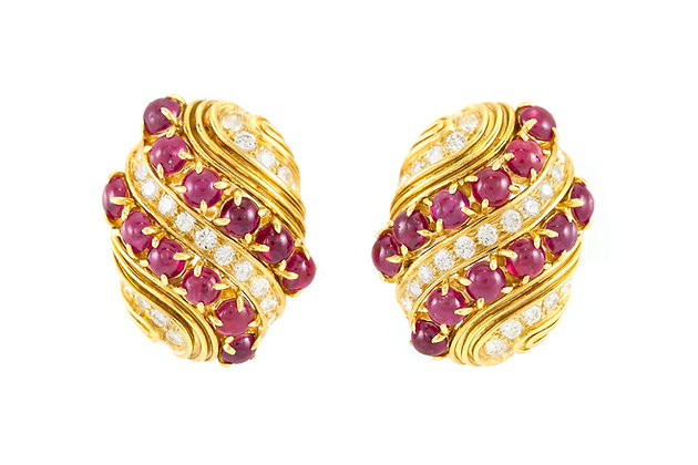 Harry Winston Cabochon Ruby and Diamond Earrings front view