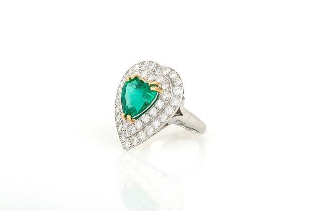 Heart Emerald Diamond Ring