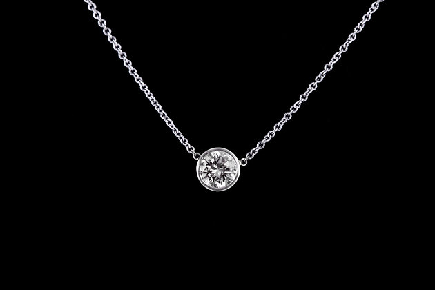 Diamond Solitaire Necklace Close-up