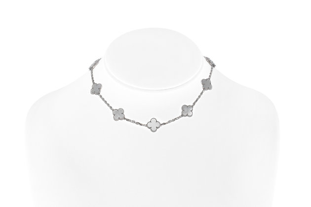 "Van Cleef & Arpels ""Alhambra"" Mother Of Pearl Choker On Neck View"