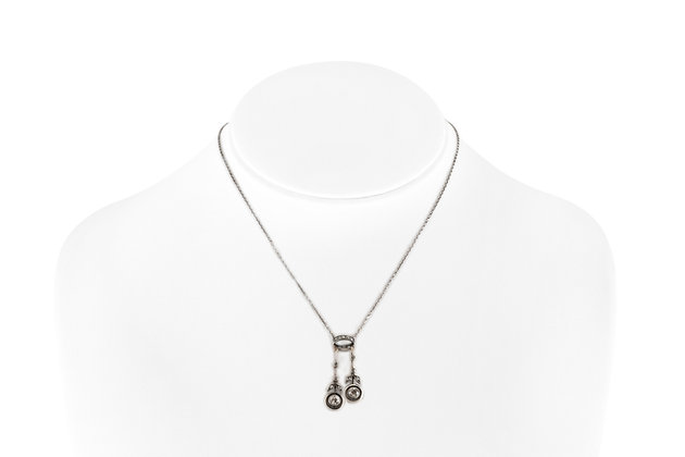 1.10 Carat Diamond Platinum Lavalier Necklace front view