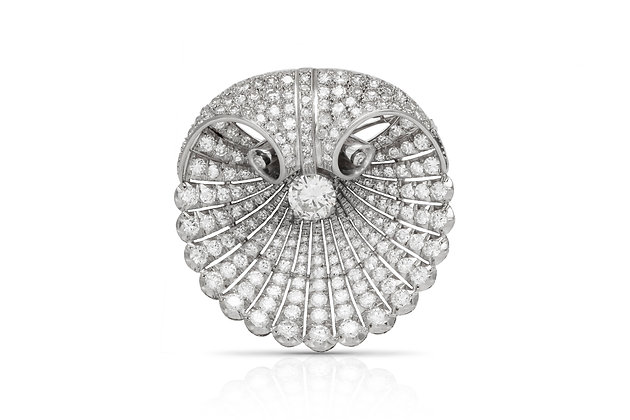 Round Diamond Brooch Front View