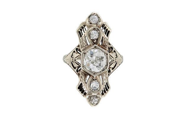 1930's  Diamond Ring with 1.25 ct Center Diamond