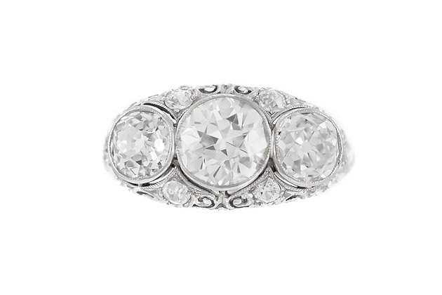 Art Deco Three Stone 3.30 Carat Diamond Engagement Ring