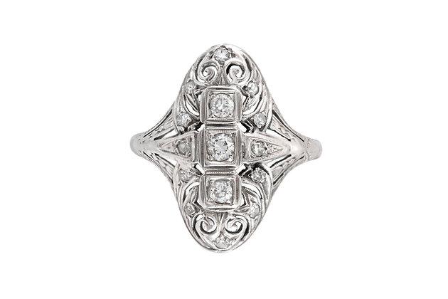 1930's 18 Karat Filigree with 1.00 Carat Diamonds Ring