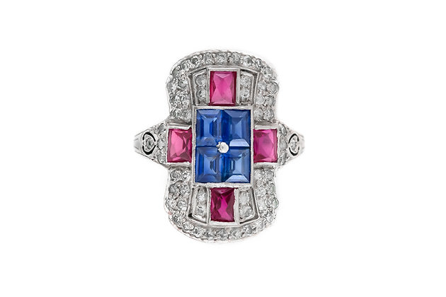 Sapphire and Ruby Platinum Diamond Art Deco Ring