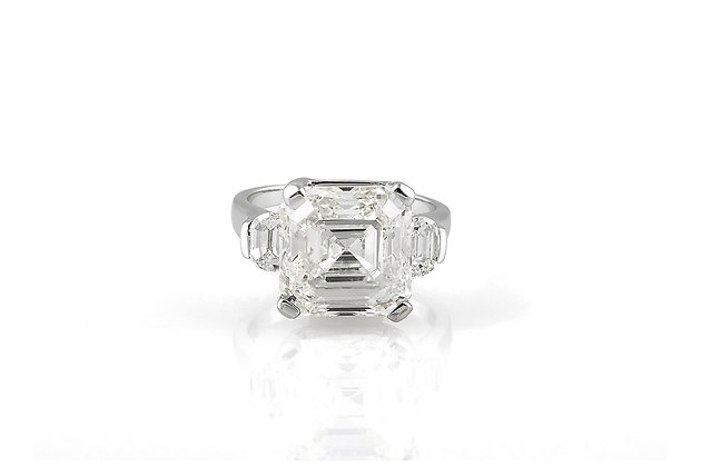 9.47 Carat Asscher Cut Engagement Ring top view