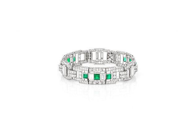 Art Deco Emerald & Diamond Bracelet front view
