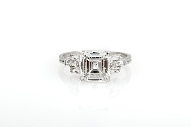 2.29 Carat Art Deco Engagement Ring top view