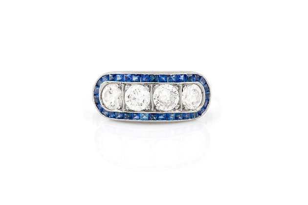 sapphire and diamond ring front