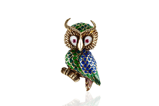 Vintage Gold And Enamel Owl Brooch Front View