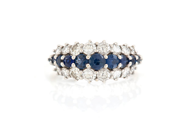 Three-Row Diamonds and Sapphires Wedding Band top view