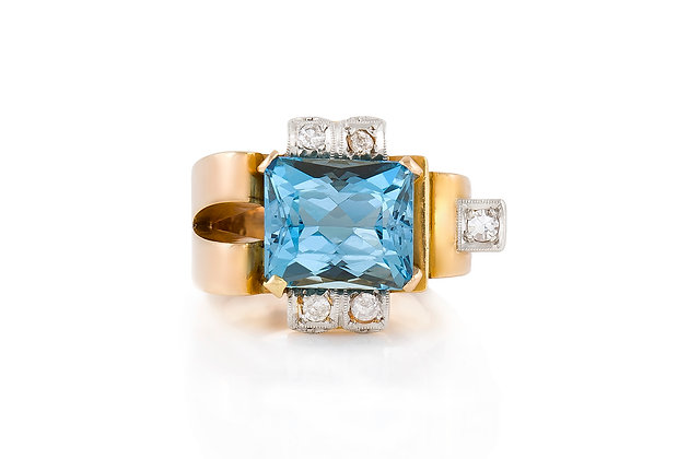 Aquamarine And Diamond Ring front view