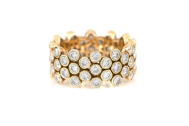 Gold Wedding Band with Round Diamonds
