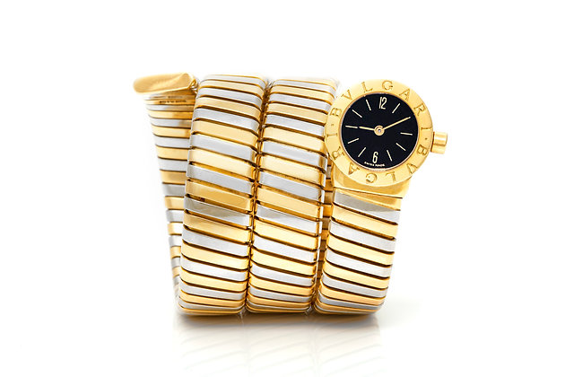 Bvlgari Two Tone Serpenti Tubogas Watch Front View