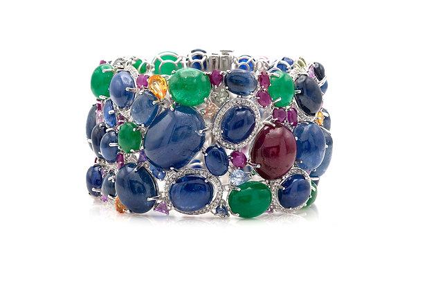 Tutti Frutti Bracelet with Cabochon Emeralds, Sapphires, Rubies and Diamonds