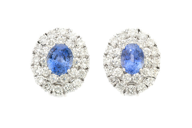 Sapphire and Diamond Clip-On Earrings front view
