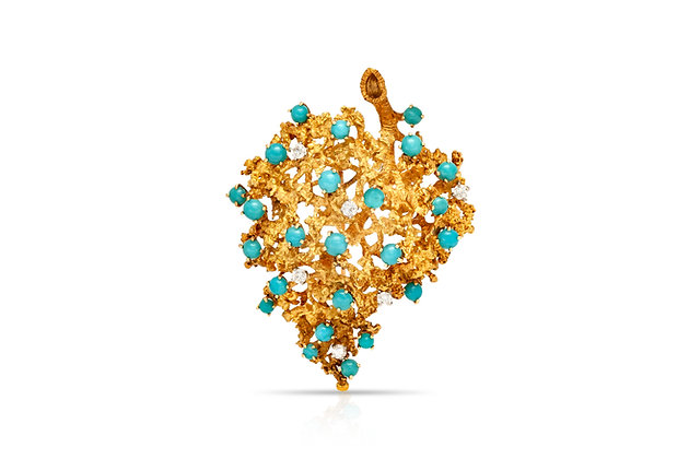 Leaf Diamond Turquoise Brooch Front View