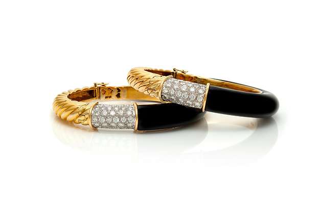 Enamel Diamond Bangle Bracelets Close-up View