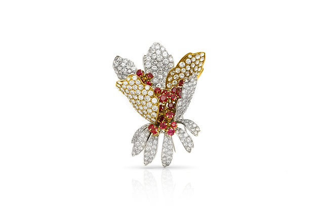 Diamond Ruby Flower Brooch Front View