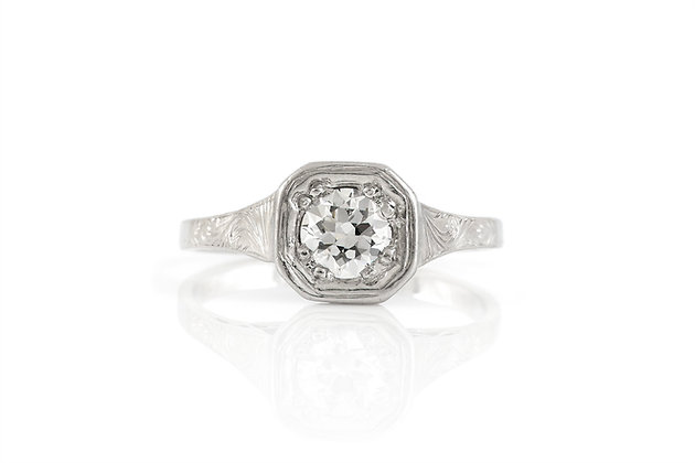 0.60 Carat Art Deco Engagement Ring front view