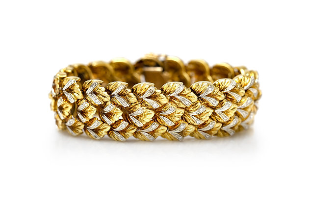 1950's Gold Diamond Bracelet Front View