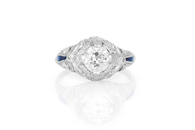 1.20 Carat Art Deco Engagement Ring top view