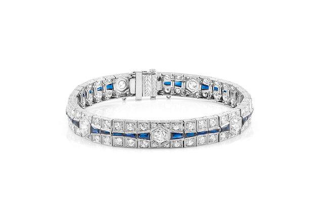 Art Deco Diamond and Sapphire Bracelet front view