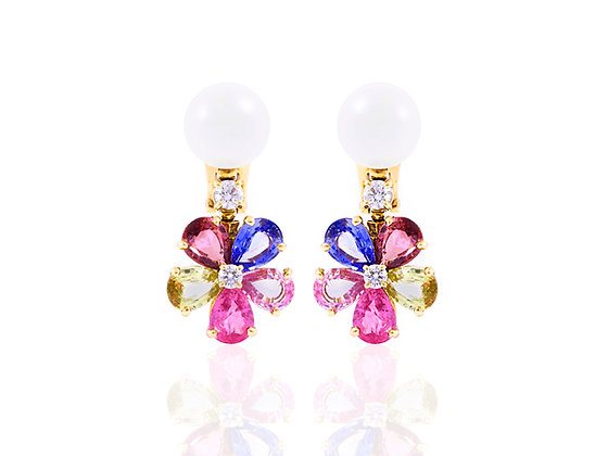 Bvlgari Pearl Multi-Colored Sapphire and Diamond Earrings front
