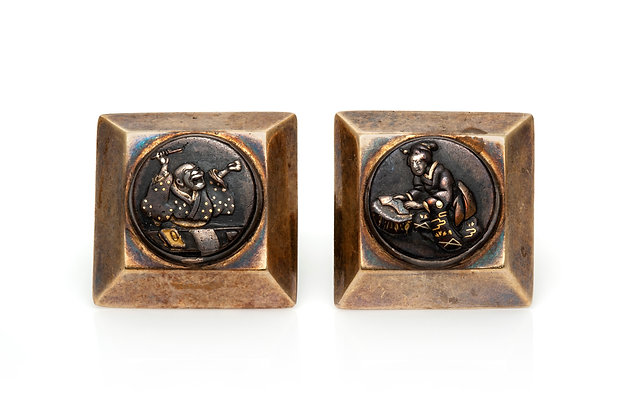 Antique Shakudo Japanese Cufflinks Front View