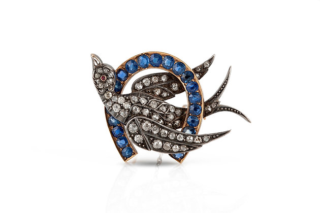 Antique Bird And Horseshoe Brooch Front View