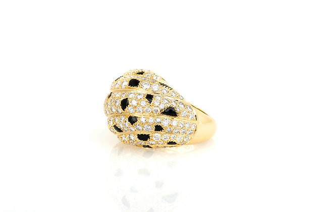 Cartier Panthere Diamond Onyx and Gold Dome Ring