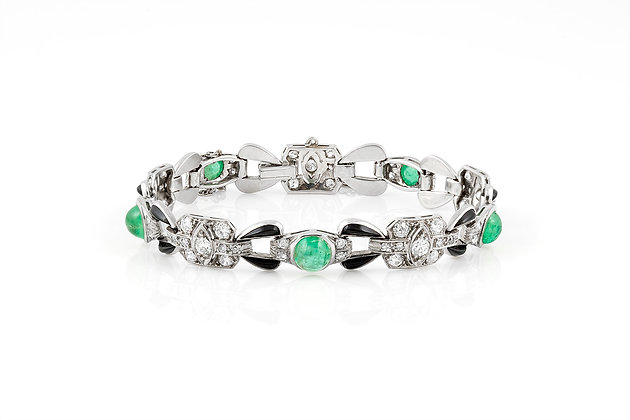 Onyx Diamond Emerald Bracelet front