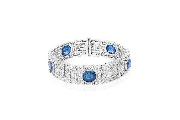 Art Deco Burma Sapphire & Diamond Bracelet front view
