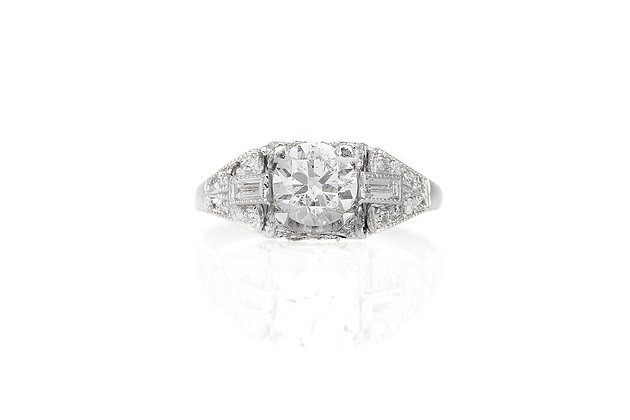 1.10 Carat Art Deco Engagement Ring top view