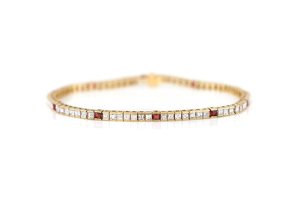 18K Channel Set Diamond and Ruby Tennis Bracelet