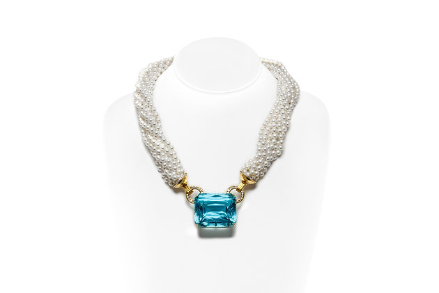 Aquamarine Cultured Pearl Diamond Necklace Front View