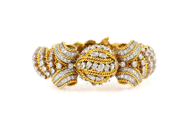 1950 Yellow Gold and Diamond Bracelet front view