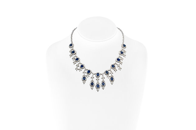 Sapphire Diamond Drop Necklace On Neck View
