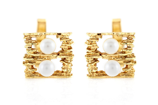 Boulder Wall Gold Cufflinks with Pearls front