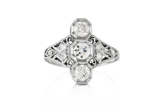 Art Deco Three Stone Navette Ring Front View