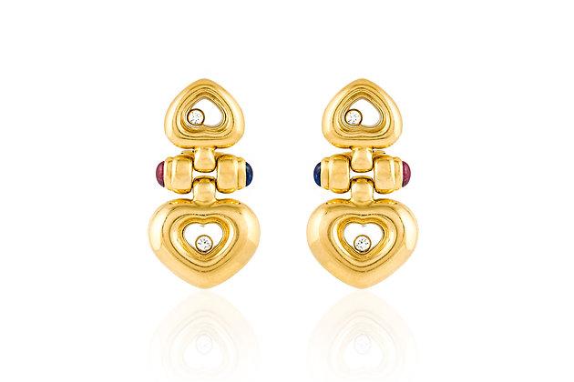 """Chopard """"Happy"""" Diamond Drop Earrings Front View"""