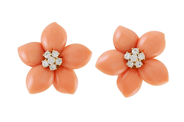 Van Cleef & Arpels Rose De Noel Diamond Coral Flower Earrings