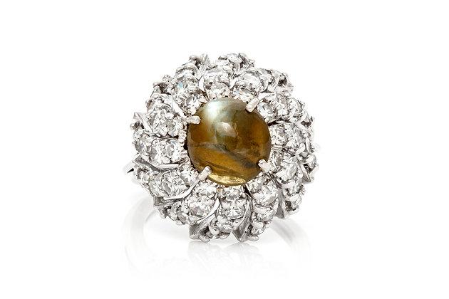 Diamond Cat Eye Ring Front View