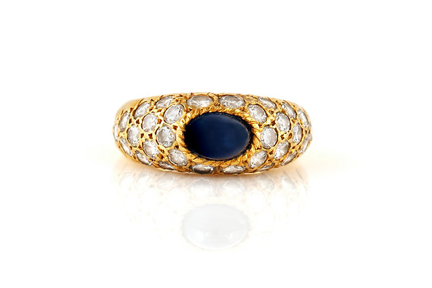Van Cleef & Arpels Diamond And Sapphire Cabochon Ring Front View