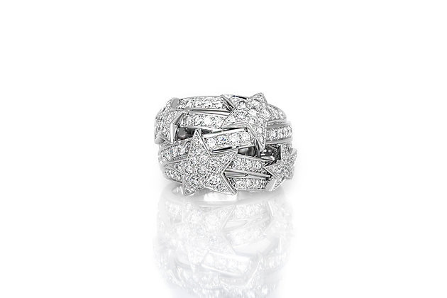 Chanel White Gold Diamond Star Dome Ring front view