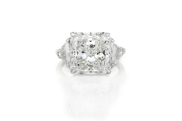 8.31 Carat Radiant Cut Engagement Ring top view