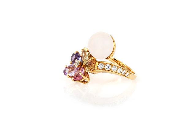 Bvlgari Multi-Colored Sapphires Pearl Diamond Ring