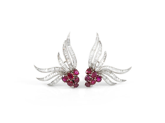 Diamond and Ruby Earclip Earrings front view